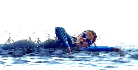 Photo pour woman triathlon iron man athlete  swimmers on white  - image libre de droit