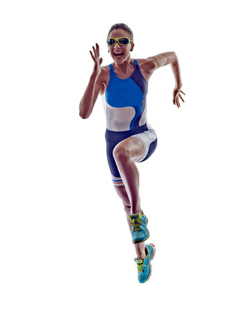Photo pour woman triathlon ironman athlete runner running  on white background - image libre de droit