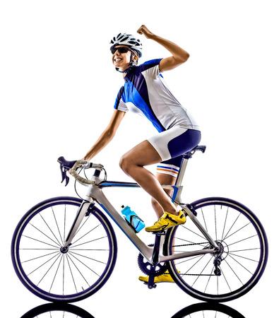 Photo pour woman triathlon ironman athlete  cyclist cycling on white background - image libre de droit