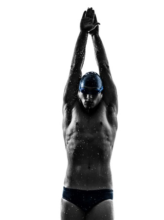 Photo pour one young man swimmer swimming in silhouette on white background - image libre de droit