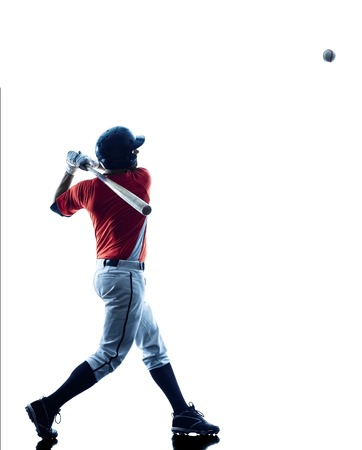 one caucasian man baseball player playing  in studio  silhouette isolated on white backgroundの写真素材