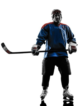 Photo pour one caucasian man ice hockey player  in studio  silhouette isolated on white background - image libre de droit