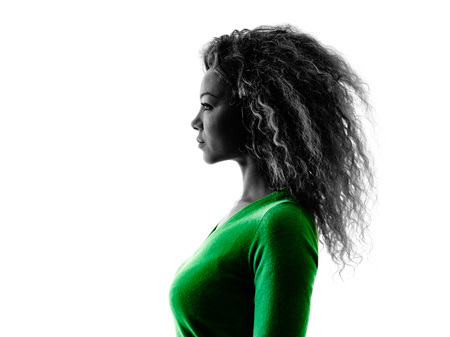 Photo pour one mixed race young woman portrait profile  silhouette isolated on white background - image libre de droit