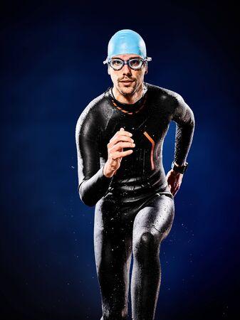 Photo pour one caucasian  man triathlon ironman swimmer swimming   isolated - image libre de droit