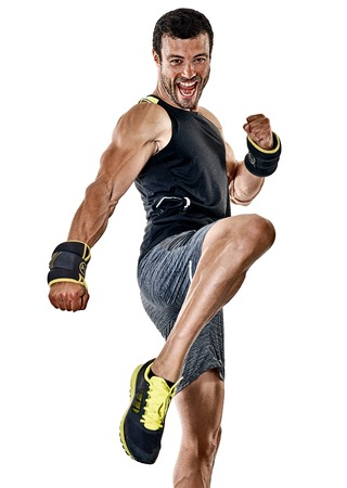 Photo pour one caucasian fitness man exercising cardio boxing exercises in studio  isolated on white background - image libre de droit