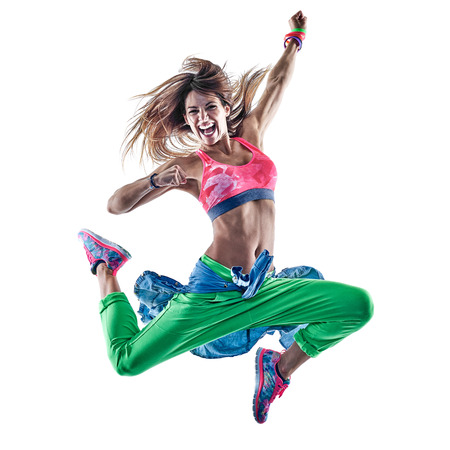 Photo for one caucasian woman cardio dancers dancing fitness exercising excercises in studio isolated on white background - Royalty Free Image