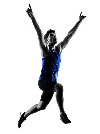 Foto de one caucasian runner sprinter running sprinting athletics man silhouette isolated on white background - Imagen libre de derechos