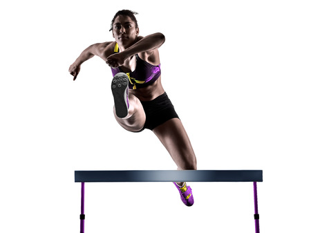 Photo for one african runner running hurdlers hurdling  woman isolated on white background silhouette - Royalty Free Image