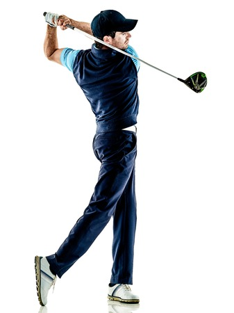 Photo pour one caucasian man golfer golfing in studio isolated on white background - image libre de droit
