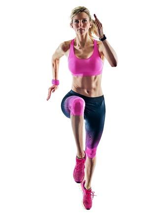 Foto de one caucasian woman sport runner running jogger jogging isolated on white background - Imagen libre de derechos