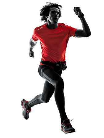 Photo pour one caucasian man pratcticing runner running jogger jogging in studio silhouette isolated on white background - image libre de droit