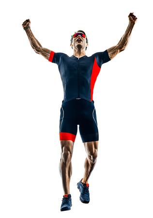Foto de triathlete triathlon runner running in silhouette isolated  on white background - Imagen libre de derechos