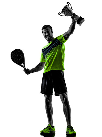 Photo for one caucasian man playing PadDLe tennis player isolated on white background - Royalty Free Image