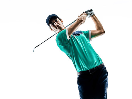 Photo for one young caucasian Man Golf golfer golfing isolated  on white background - Royalty Free Image