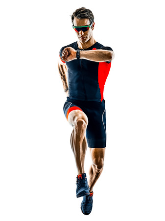Photo pour triathlete triathlon runner running in silhouette isolated  on white background - image libre de droit