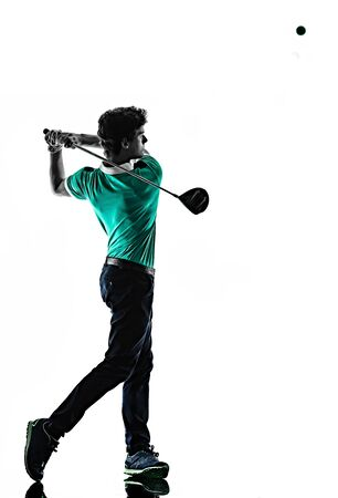 Foto de one young caucasian Man Golf golfer golfingshadow silhouette isolated on white background - Imagen libre de derechos