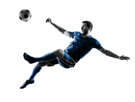 Photo pour one caucasian soccer player man playing kicking in silhouette isolated on white background - image libre de droit