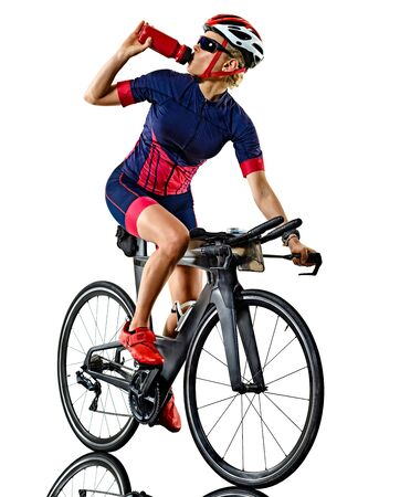 Photo pour one caucasian woman practicing triathlon triathlete ironman studio shot isolated on white background - image libre de droit