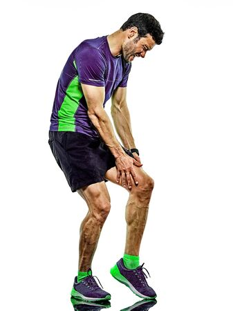 Foto de one caucasian handsome mature man running runner jogging jogger isolated on white background - Imagen libre de derechos