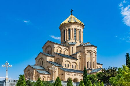 Photo for Holy Trinity Cathedral church landmark of Tbilissi Georgia capital city eastern Europe - Royalty Free Image