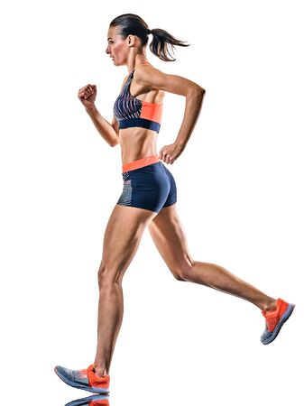 Foto de one young caucasian woman runner running jogger jogging athletics competition isolated on white background - Imagen libre de derechos