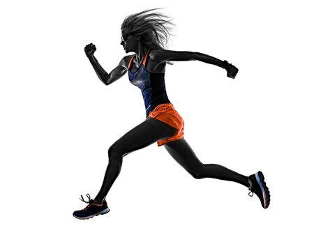 Foto de beautiful woman runner jogger jogging running isolated white background - Imagen libre de derechos