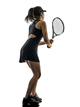 Photo pour one young tennis player asian woman isolated in studio silhouette on white brackground - image libre de droit