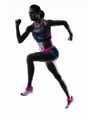 Foto de young woman runner running jogger jogging athletics isolated white background - Imagen libre de derechos