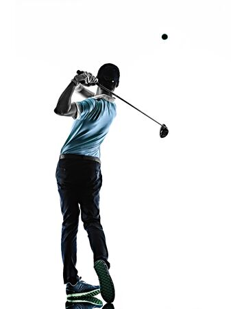 Photo pour one young caucasian Man Golf golfer golfingshadow silhouette isolated on white background - image libre de droit