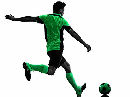 Photo pour young soccer player man silhouette shadow isolated white background - image libre de droit