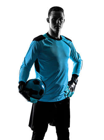 Photo pour soccer player goalkeeper man silhouette shadow isolated white background - image libre de droit