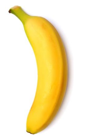 Single banana against white background