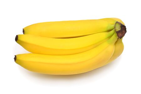 Photo for Bunch of bananas isolated on white background. Flat lay, top view - Royalty Free Image