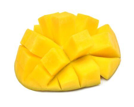 Photo for Mango fruit half slices of cubes isolated on white background - Royalty Free Image