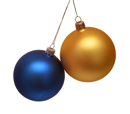 Photo pour Two christmas balls isolated on a white background. Flat lay, top view. Creative concept - image libre de droit