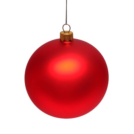Foto für Red christmas ball isolated on white background. Flat lay, top view. Creative New Year concept - Lizenzfreies Bild