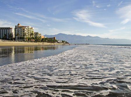Wide Pacific Ocean beach in Nuevo Vallarta, Mexico