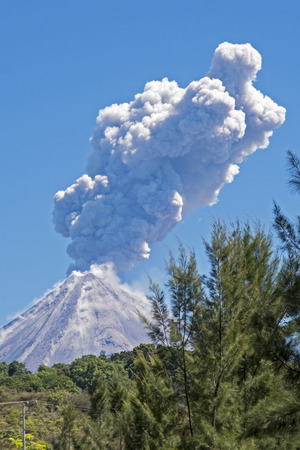Colima volcano or Volcan de Fuego with ash and steam eruption Colima Mexico