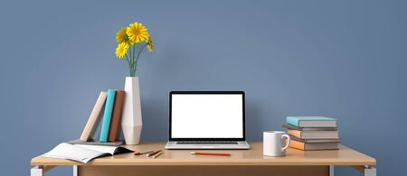 Photo pour Home office workplace concept with laptop mockup - image libre de droit