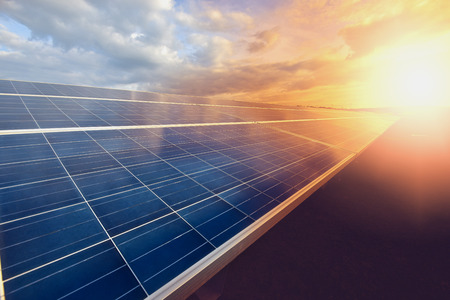 Photo for solar panel on sky background - Royalty Free Image