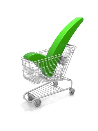 Shopping cart with a green check mark. Part of a series.