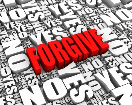 FORGIVE 3D text surrounded by YES and NO words. Part of a series.