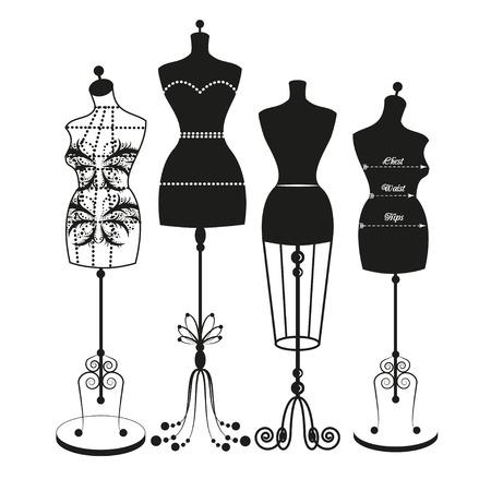 Ilustración de vector vintage tailor's mannequin for female body - Imagen libre de derechos
