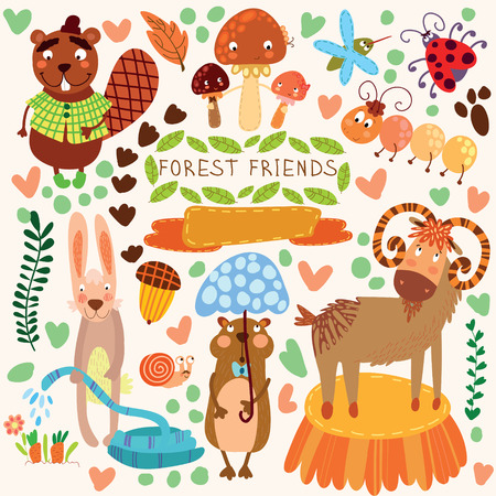 Vector Set of Cute Woodland and Forest Animals.Gopher,beaver, goat, ant, ladybug, rabbit, mosquito, snail.(All objects are isolated groups so you can move and separate themのイラスト素材