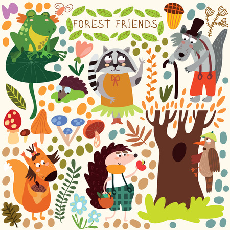 Vector Set of Cute Woodland and Forest Animals. Squirrel, frog, woodpecker, hedgehog, wolf, raccoon, butterfly.(All objects are isolated groups so you can move and separate them)のイラスト素材