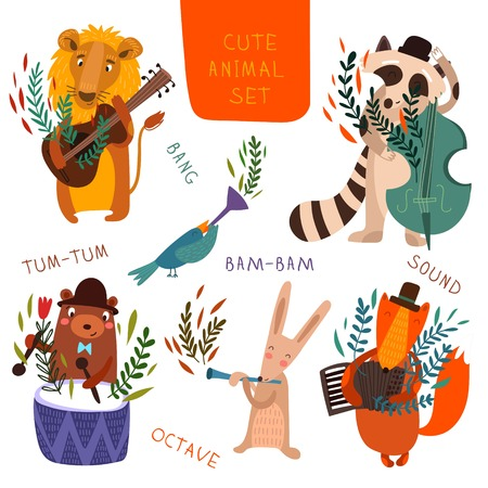 Illustration for Cute animal set.Cartoon animals playing on various musical instruments.Lion, bear, raccoon, fox, bird, rabbit in vector - Royalty Free Image