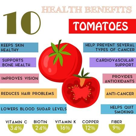 Foto de 10 Health benefits information of Tomatoes. Nutrients infographic - Imagen libre de derechos
