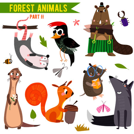 Illustration pour Set of Cute Woodland and Forest Animals. - image libre de droit