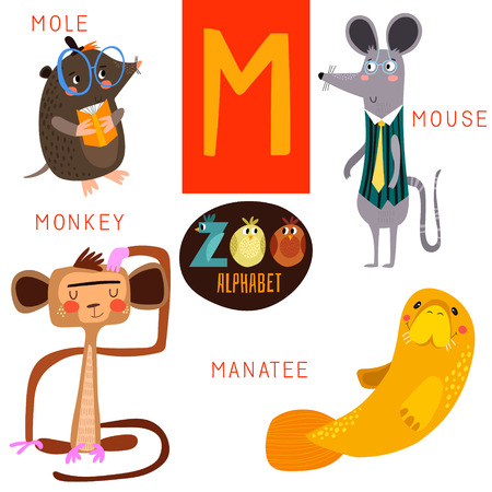 Cute zoo alphabet in M letter.のイラスト素材