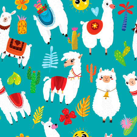 Ilustración de Cartoon seamless pattern with llama, alpaca, cactus and leaves. Background can be used for wallpapers, pattern fills, surface textures. - Imagen libre de derechos